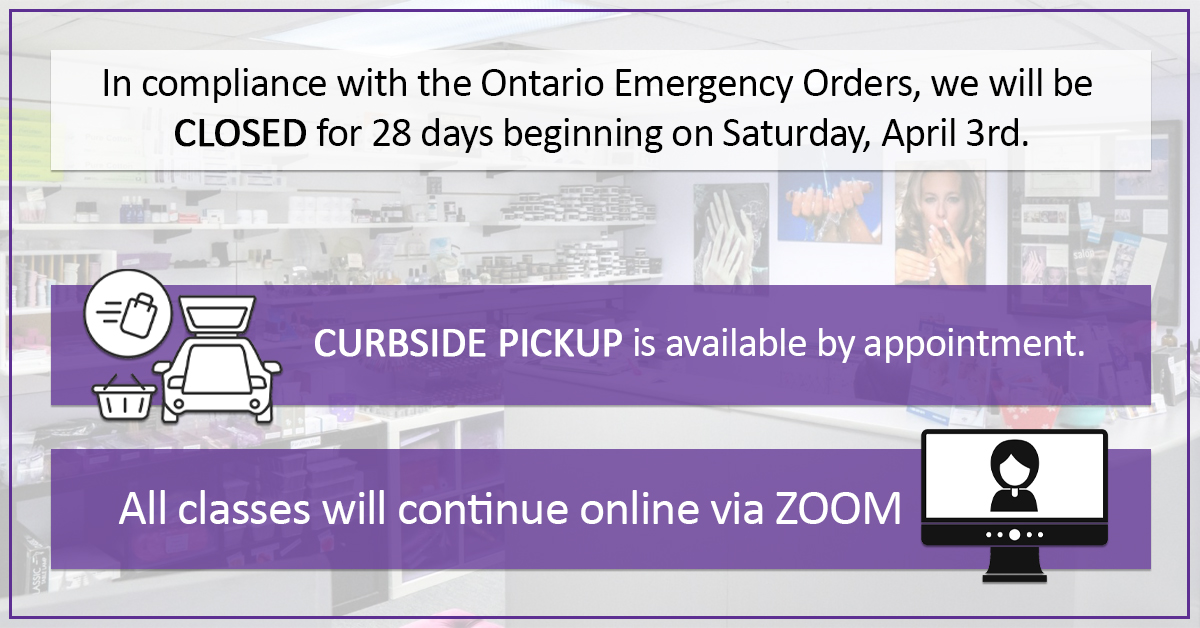 TONi will be closed during the Ontario April Lockdown. Curbside Pickup available by appointment. Class will continue online via ZOOM.